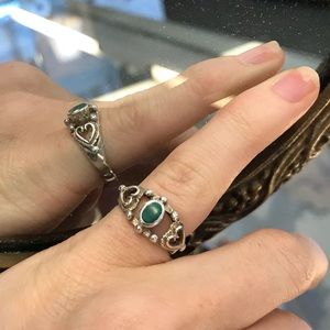 MALACHITE 925 Real Silver Vintage Pinkie Ring
